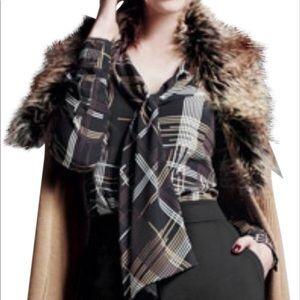 Trina Turk Dame Silk Plaid Bow-Tie Blouse